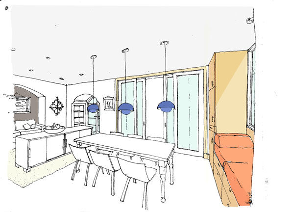 Sketch Of Dining Room With Built In Seating Niche